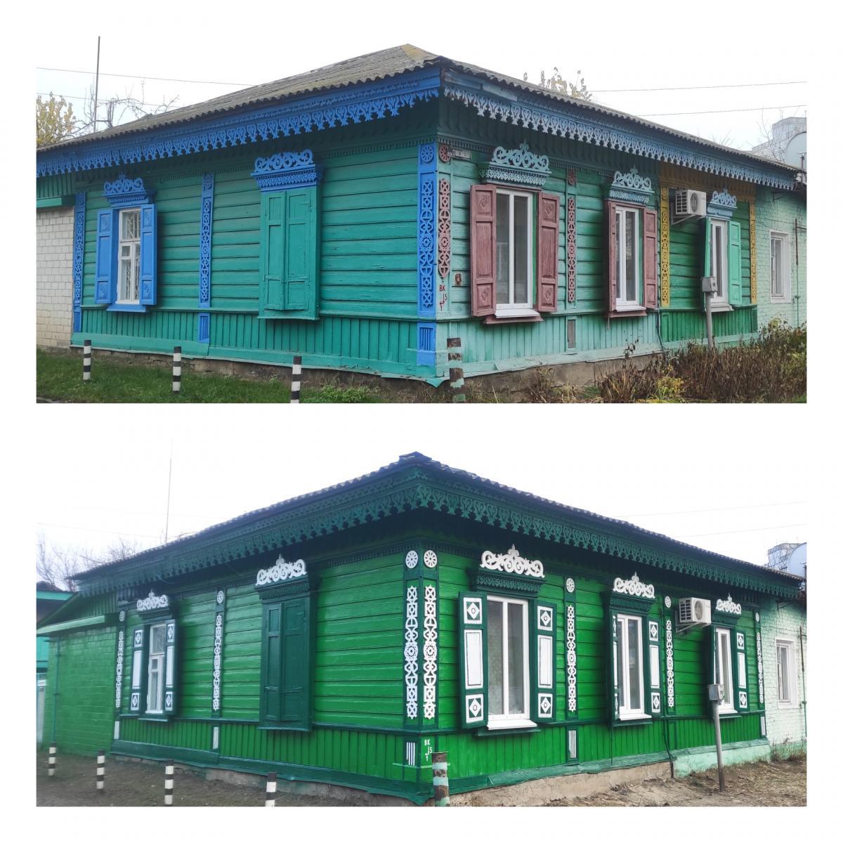 Відновлений волонтерами будинок/фото проекту «Дерев'яне мереживо Чернігова»