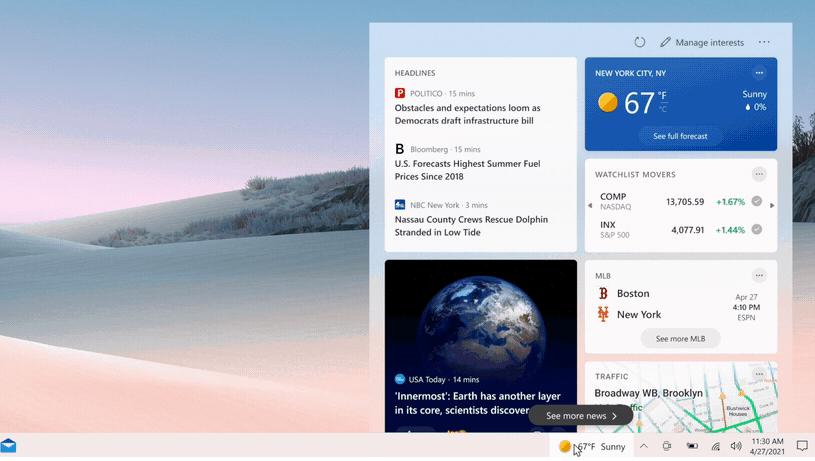 В панель задач добавили виджет с погодой и новостями / фото windows.com