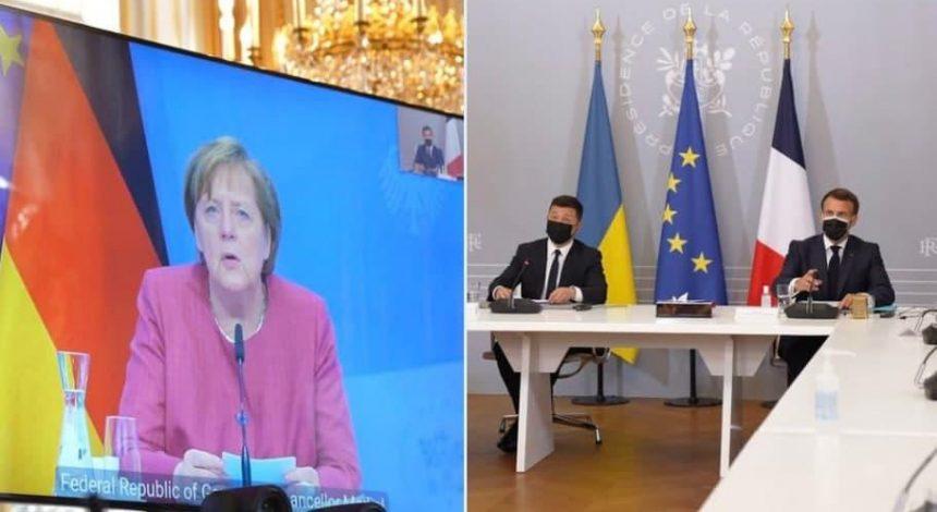 Меркель, Макрон и Зеленский призвали Путина отвести войска от границ Украины