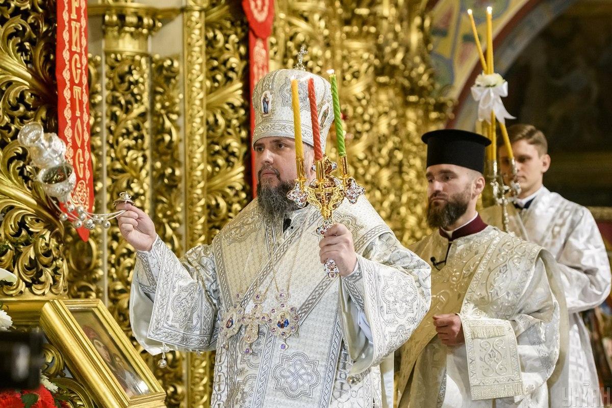 Служба ПЦУ на Пасху в Михайловском соборе в Киеве / фото УНИАН