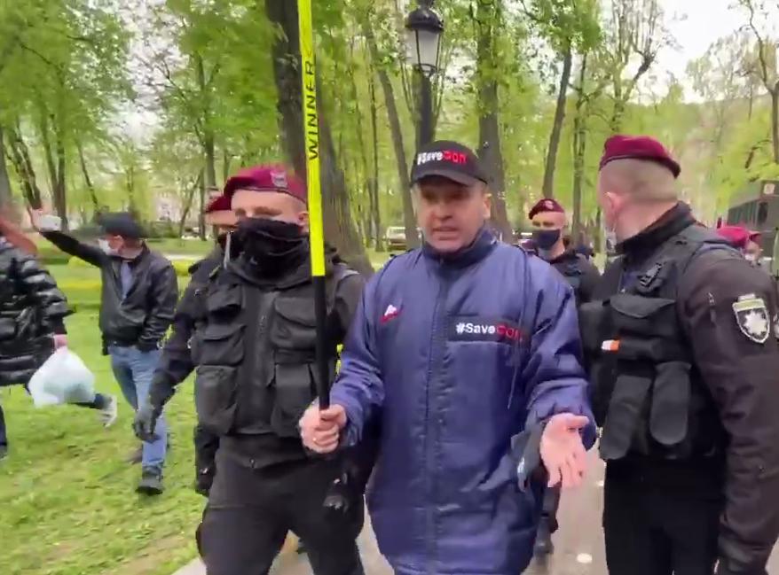 Активиста Доротича задержали в Мариинском парке/ Скриншот с видео