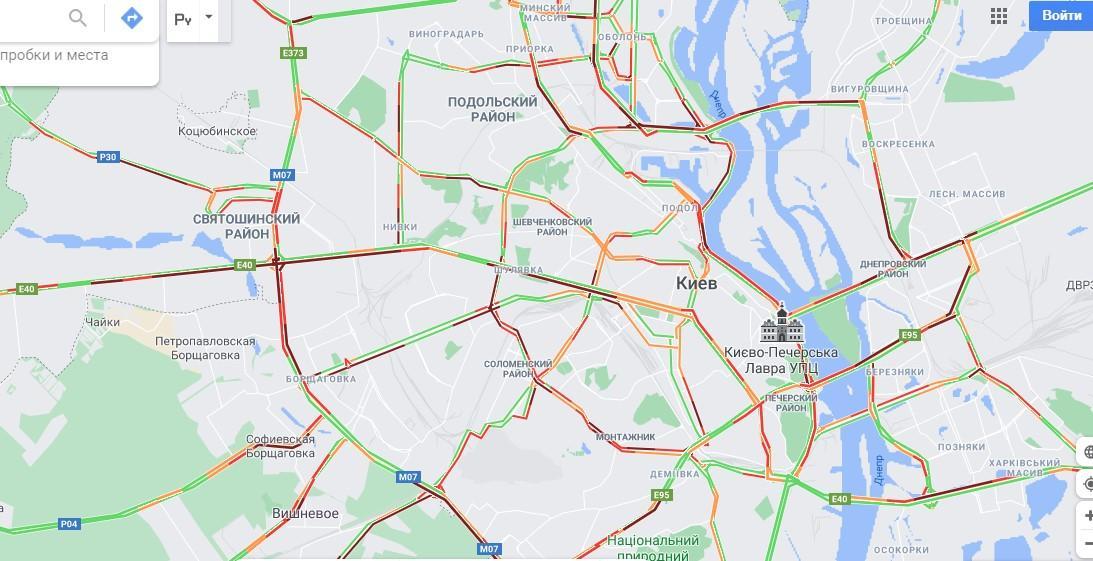 Затори у Києві 11 травня: як краще об'їхати / дані google.com.ua/maps