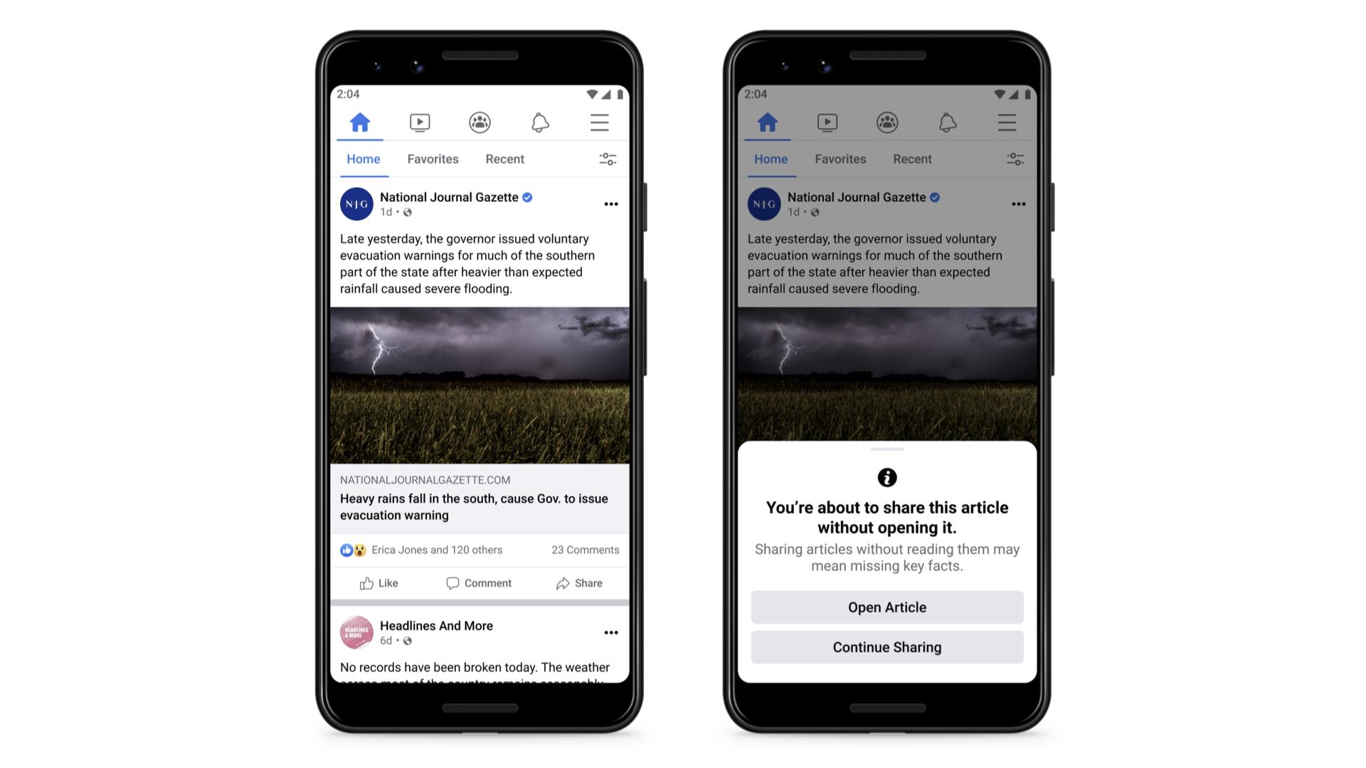 Facebook будет отговаривать пользователей от шейринга статей без их чтения / Facebook