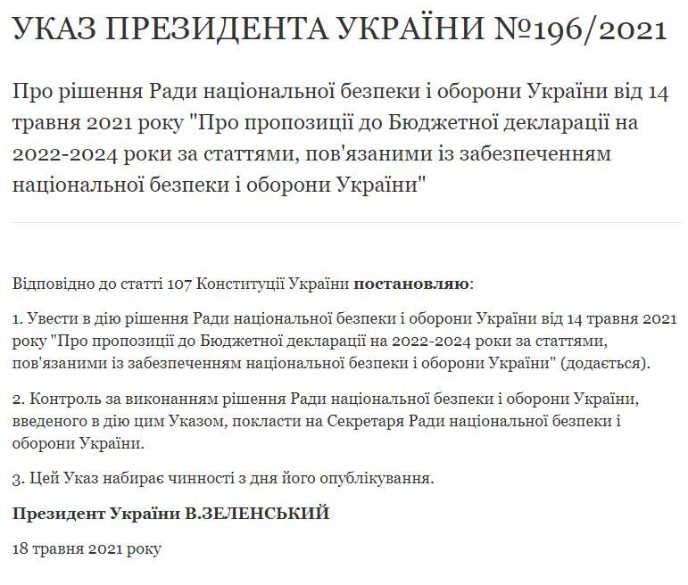 Указ Зеленського / скріншот