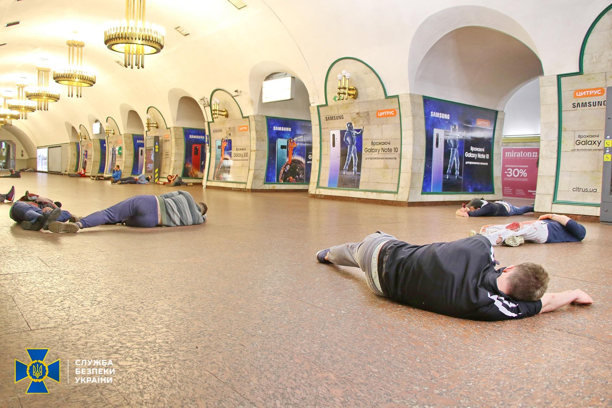 Антитерористичні навчання у метровідбувалися в умовах, максимально наближених до реальних / фото СБУ