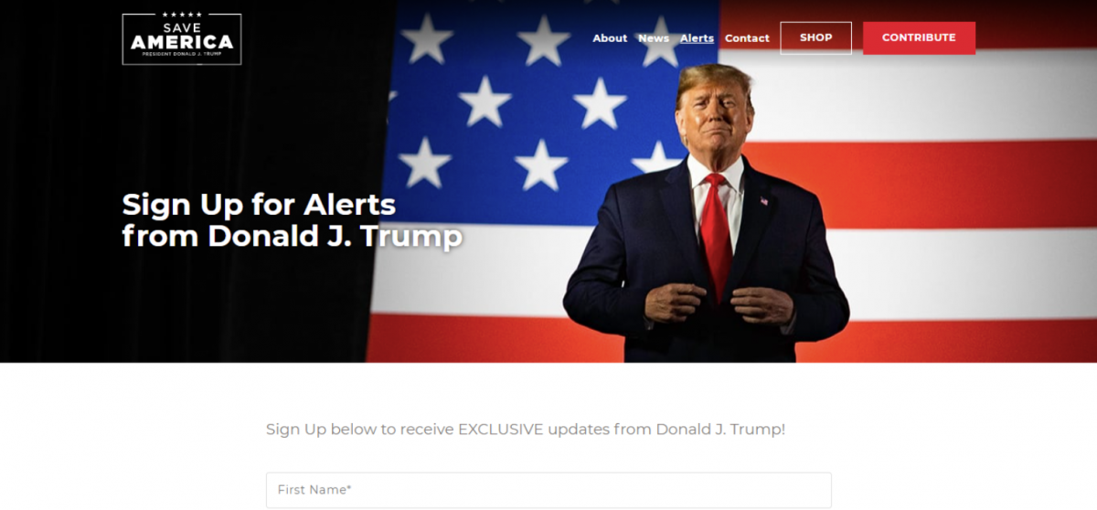 скриншот, donaldjtrump.com