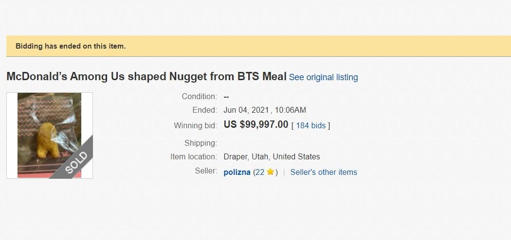 Нагетс продали за $ 99997 / скріншот