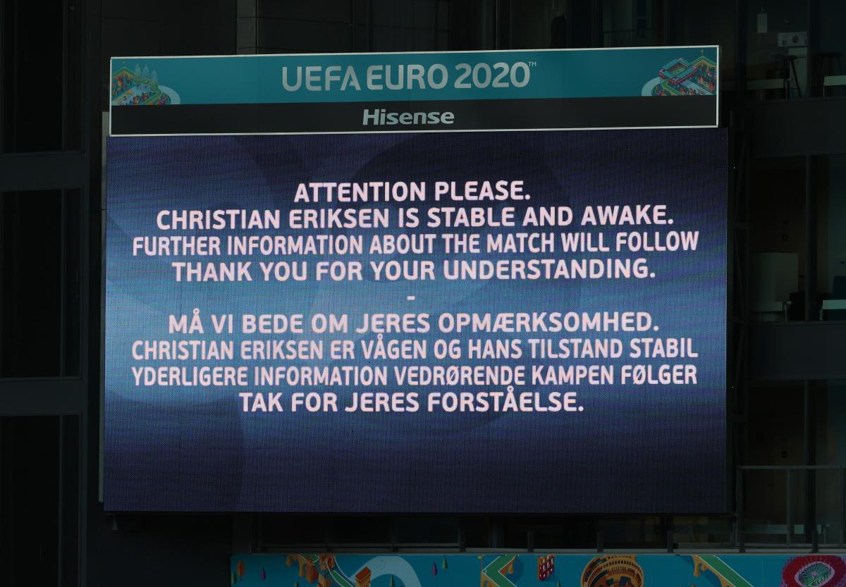 Болельщикам сообщили, что Эриксен находится в сознании / фото REUTERS
