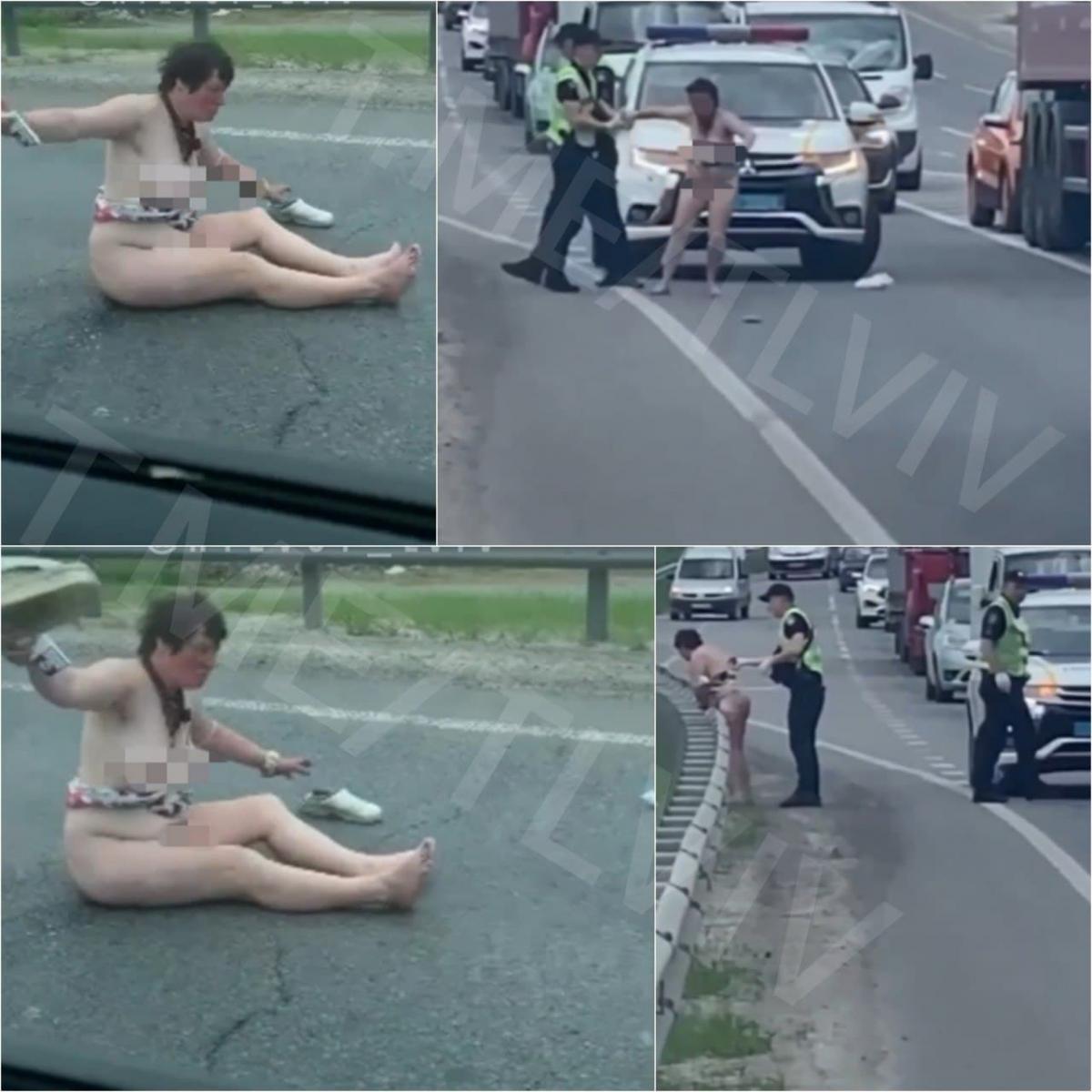 Оголена жінка гуляла трасою біля Львова / фото t.me/tplviv