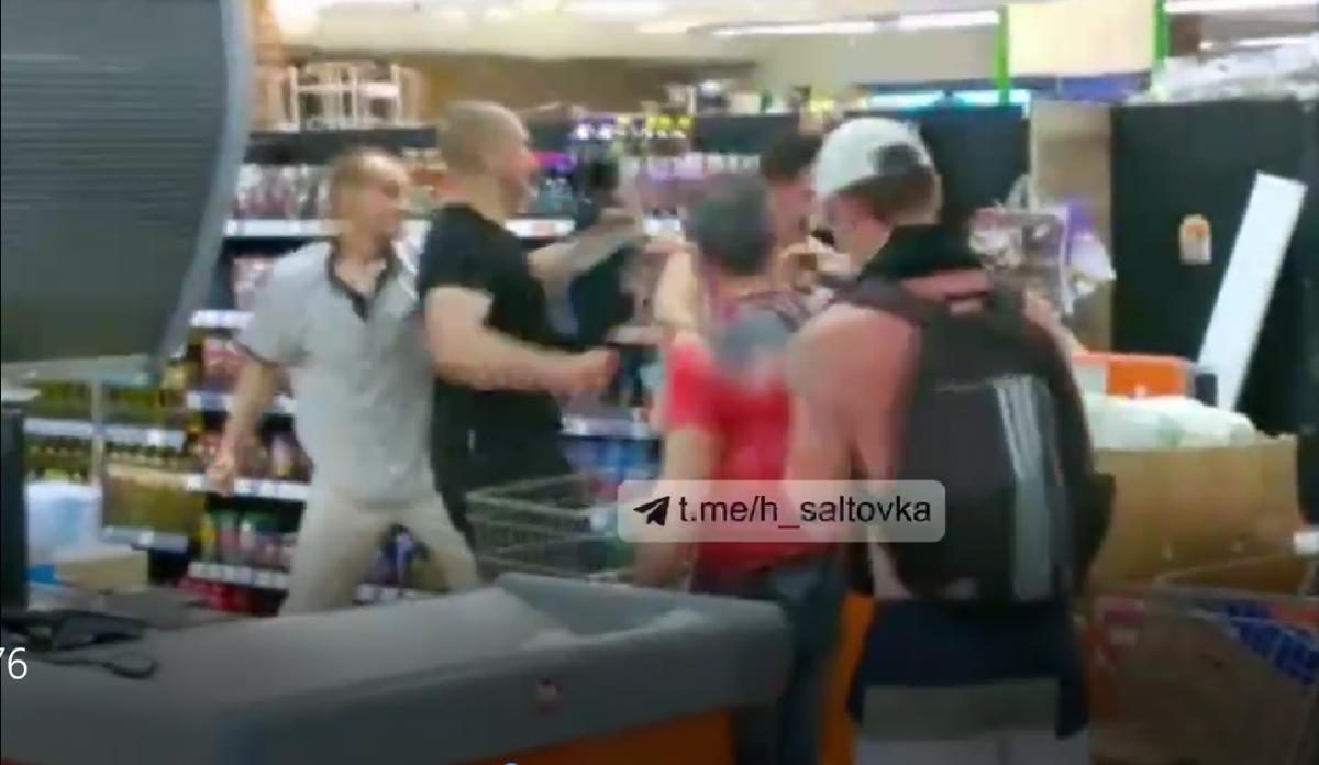Драка в супермаркете Харькова / скриншот