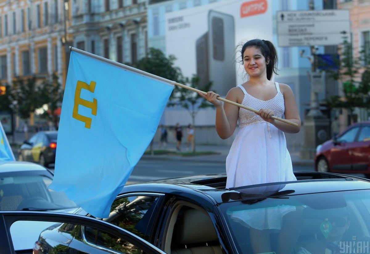 У Києві відзначають День кримськотатарського прапора \ фото УНІАН