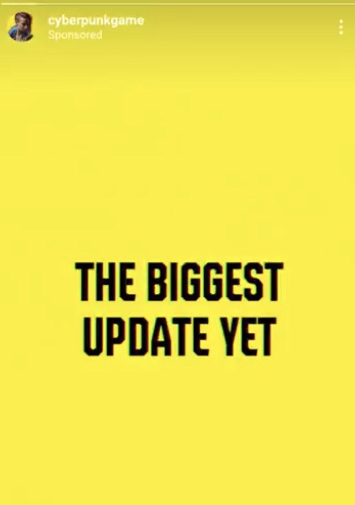 """Реклама """"найбільшого"""" оновлення для Cyberpunk 2077 / скріншот"""