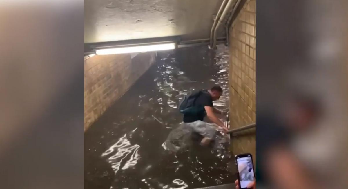 Уровень воды местами доходил людям до пояса / скриншот из видео
