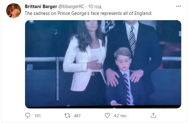 Разочарование маленького принца Джорджа после поражения сборной Англии на Евро-2020 / фото twitter.com/bbargerRC/