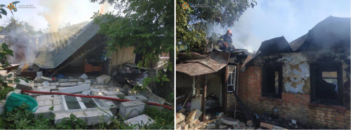 Последствия взрыва в Черкасской области / фото ГСЧС