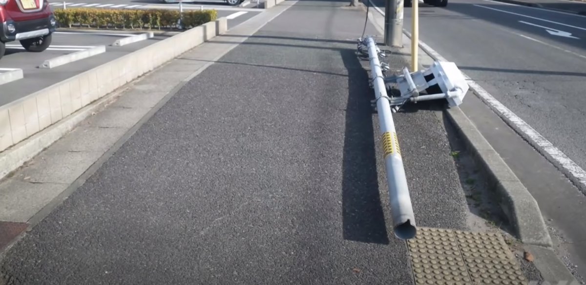 В Японии упал светофор из-за собачьей мочи/ скриншот видео