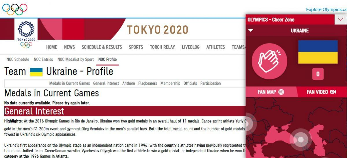 This is what the page of Ukraine on the site / olympics.com looks like