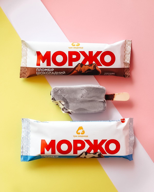 Морозиво пломбір і шоколадний пломбір МОРЖО глазуроване на паличці