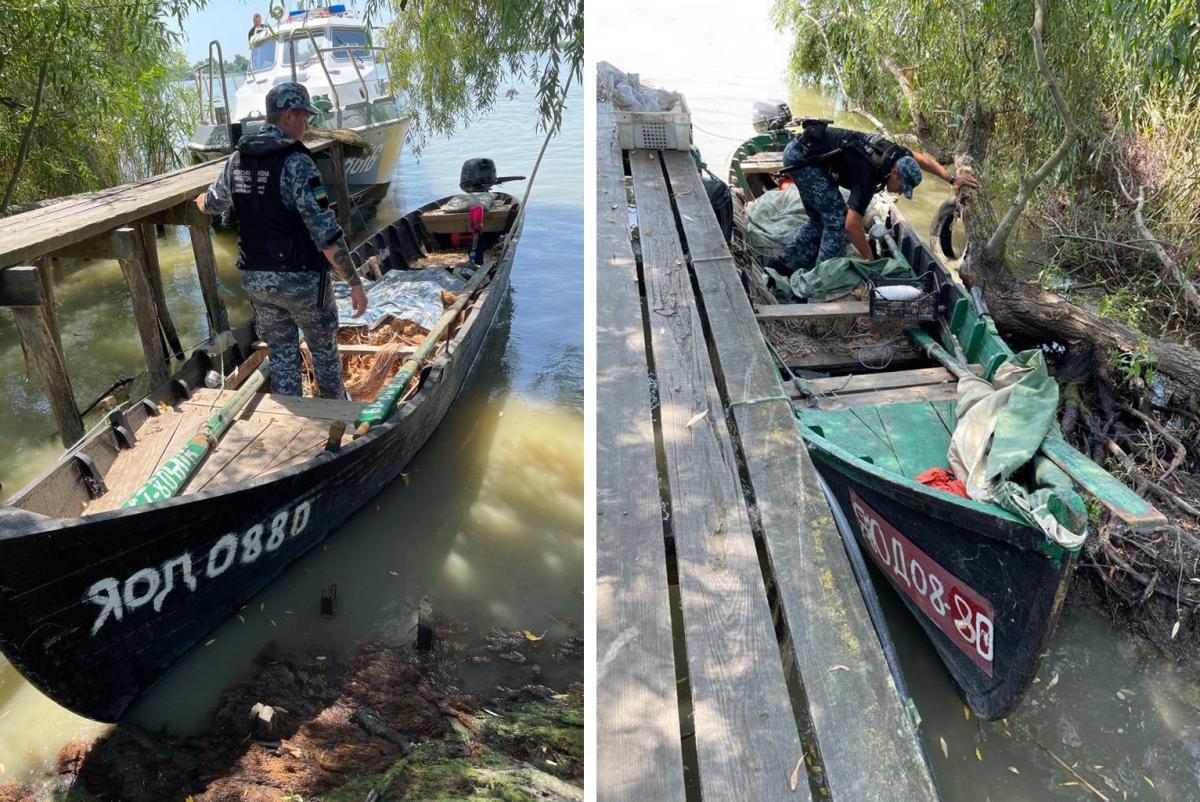 В одному з човнів були браконьєрські сітки/ фото dpsu.gov.ua