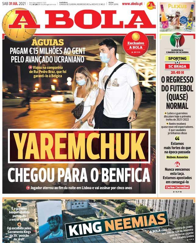 Первая страница газетыА Bola