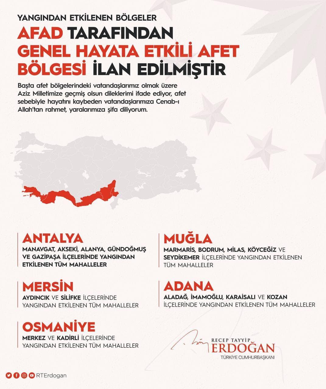 Зоною лиха оголошені провінції Адана, Анталья, Мугла, Мерсін і Османійе / фото Telegram-канал Ердоганf