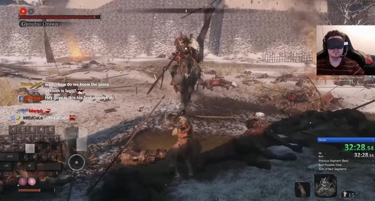 Mitchriz грає в Sekiro: Shadows Die Twice з зав'язаними очима / скріншот