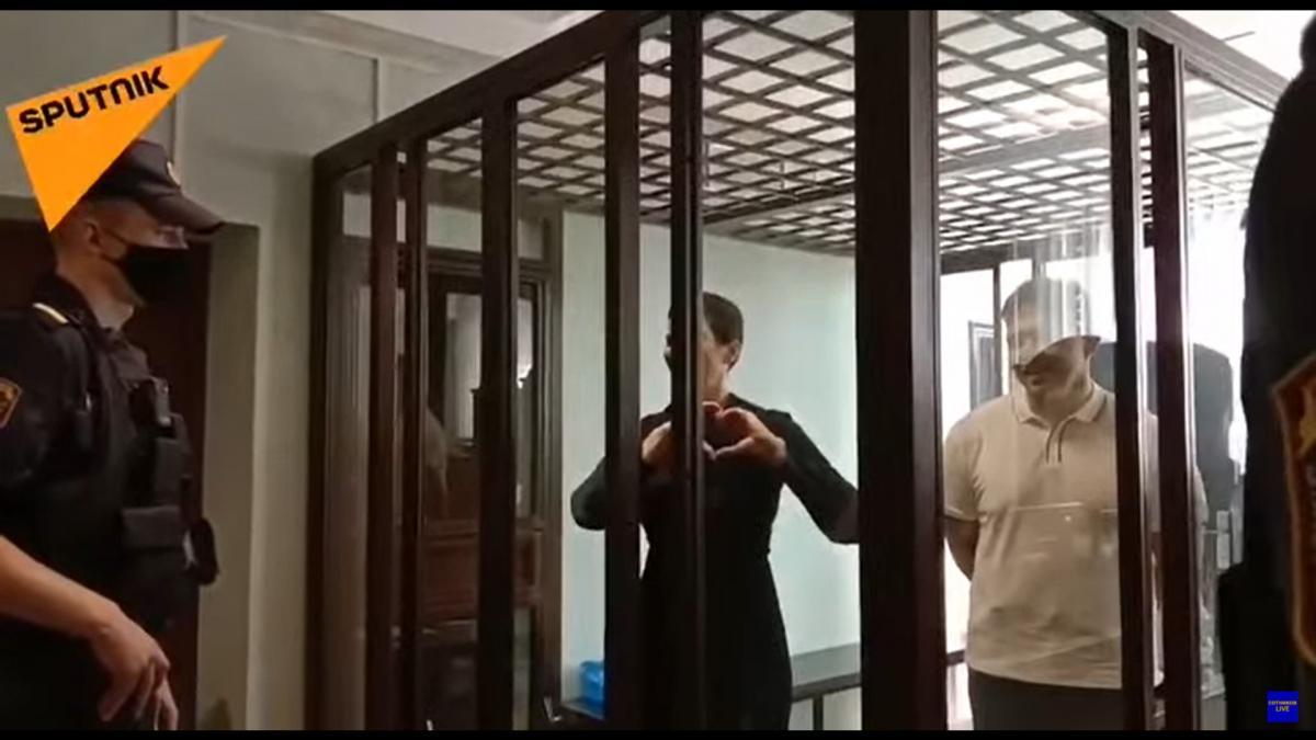 Марія Колесникова перед засідання суду / скріншот з відео