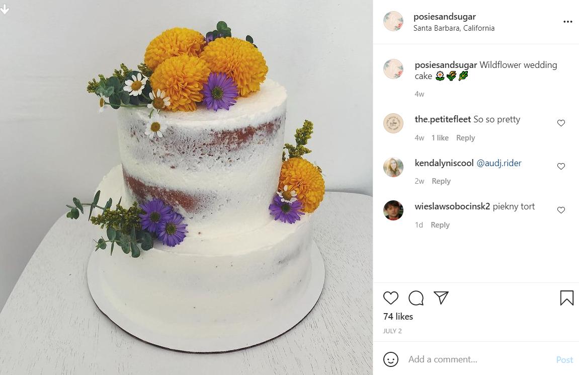 """""""Голий"""" торт розрахований на 30 осіб / instagram.com/posiesandsugar"""