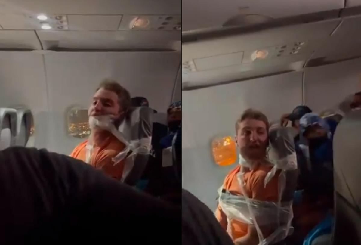 22-летнего пассажира приклеили скотчем к сиденью до конца полета / скриншот