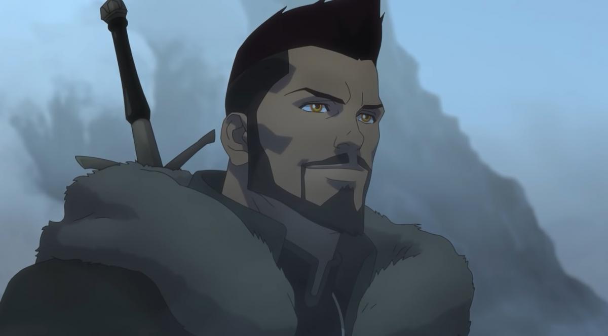 """Весемир в ленте """"Ведьмак: Кошмар волка"""" /скриншот из трейлера"""