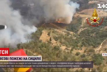 По меньшей мере пять человек получили травмы из-за лесных пожаров на Сицилии