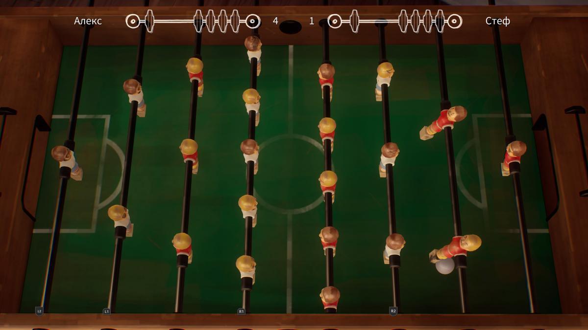 В мини-футболе нужно лишь нажимать на клавиши, отвечающие за конкретные ряды игроков, но все равно интересно / скриншот