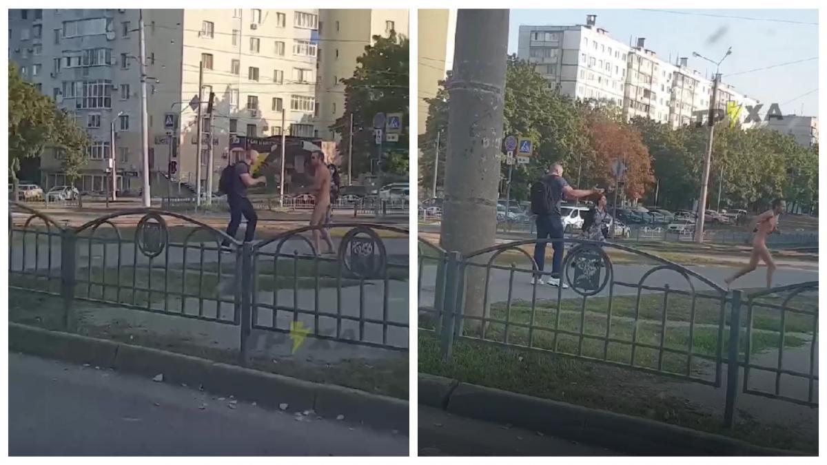 Голый неадекват с утра бросался на харьковчан / коллаж УНИАН