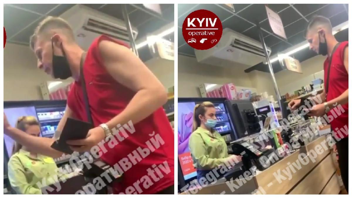 Неадекватну поведінку чоловіка зафіксували на відео очевидці / колаж УНІАН