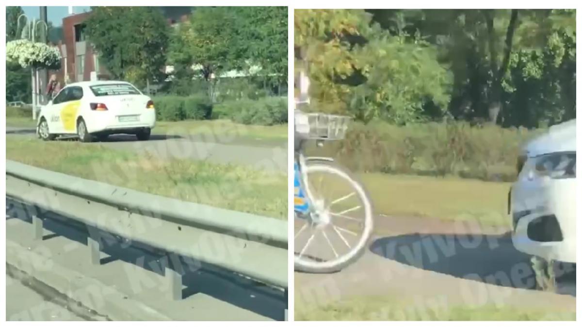 Велосипедиста возмутило нарушение ПДД таксистом / коллаж УНИАН