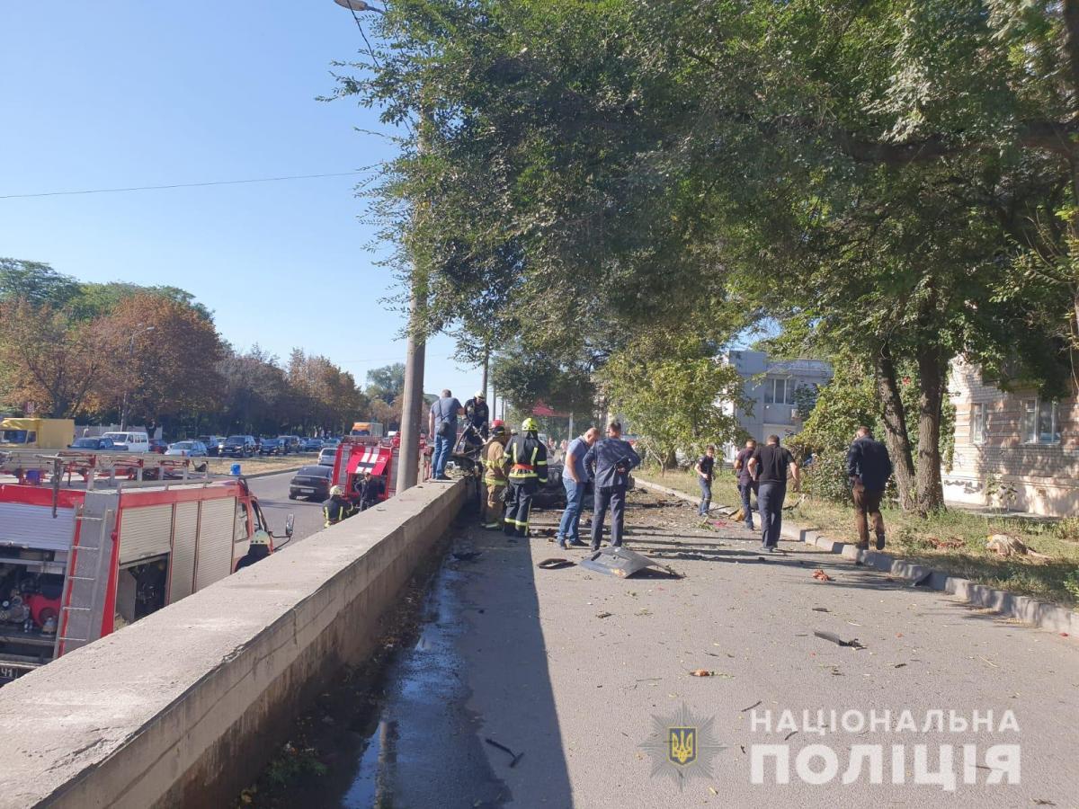 Место взрыва в Днепре / фото: Нацполиция