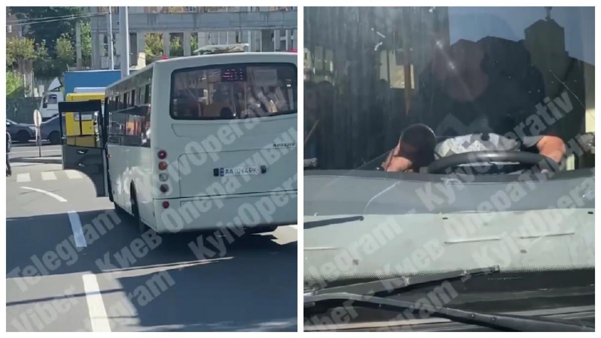 Ще один маршрутник відзначився агресивною поведінкою на дорозі / колаж УНІАН
