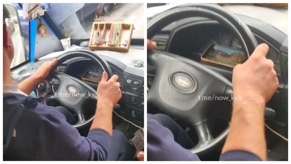 Водитель включил видео во время движения маршрутки / коллаж УНИАН