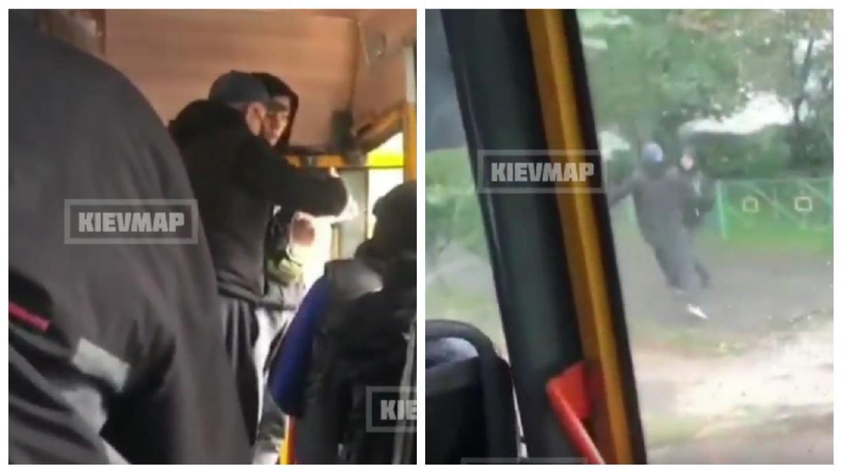 Маршрутчик напал на пассажира / коллаж УНИАН