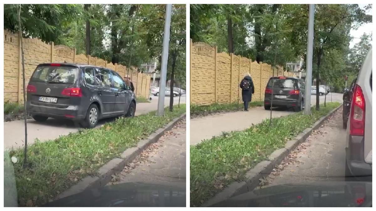 Водій виїхав на тротуар, щоб не втрачати час у заторі / скріншот відео