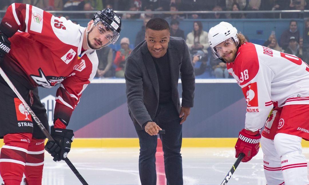 Олимпийский чемпион Жан Беленюк дал старт матчу / фото ХК Донбасс