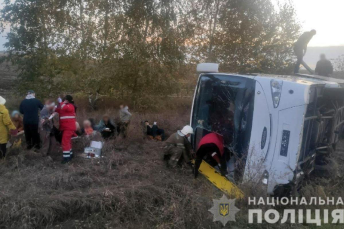 На Полтавщине автобус попал в аварию, много пострадавших / фото pl.npu.gov.ua