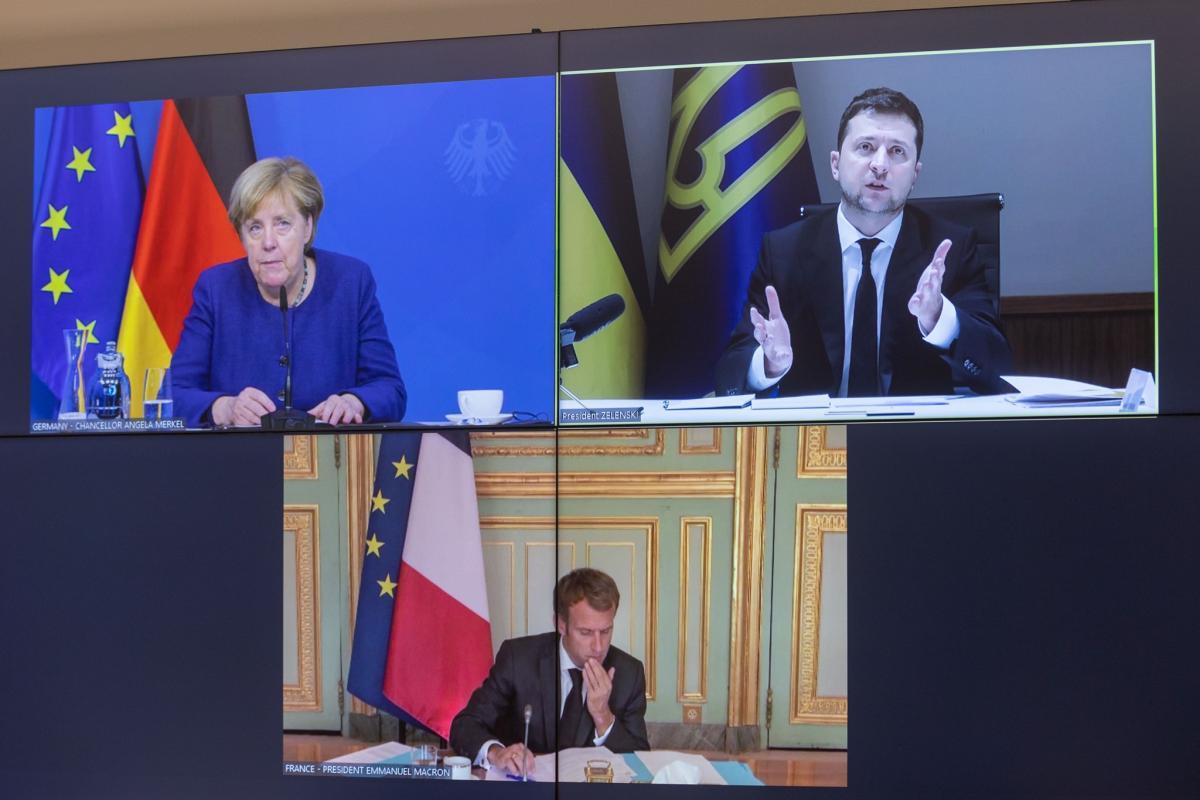 Зеленський, Меркель і Макрон провели відеоконференцію / фото president.gov.ua