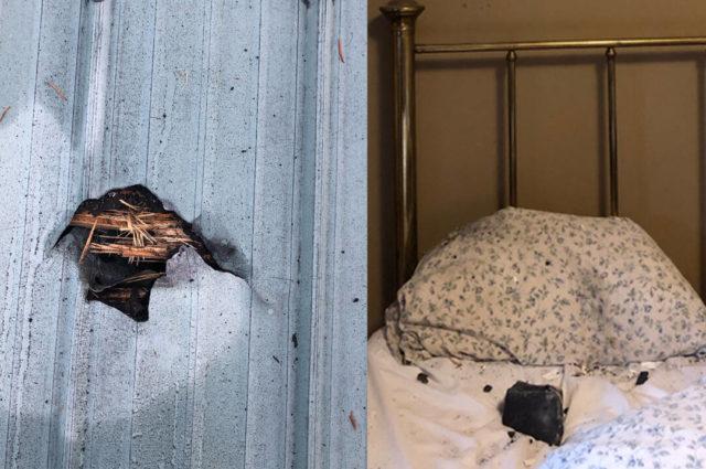 Метеорит пробив дах і приземлився на подушку / фото Ruth Hamilton
