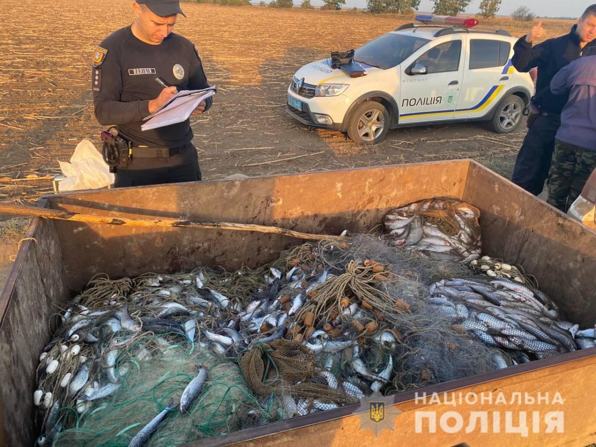 Двоє чоловіків наловили понад 200 кг риби/ фото НПУ