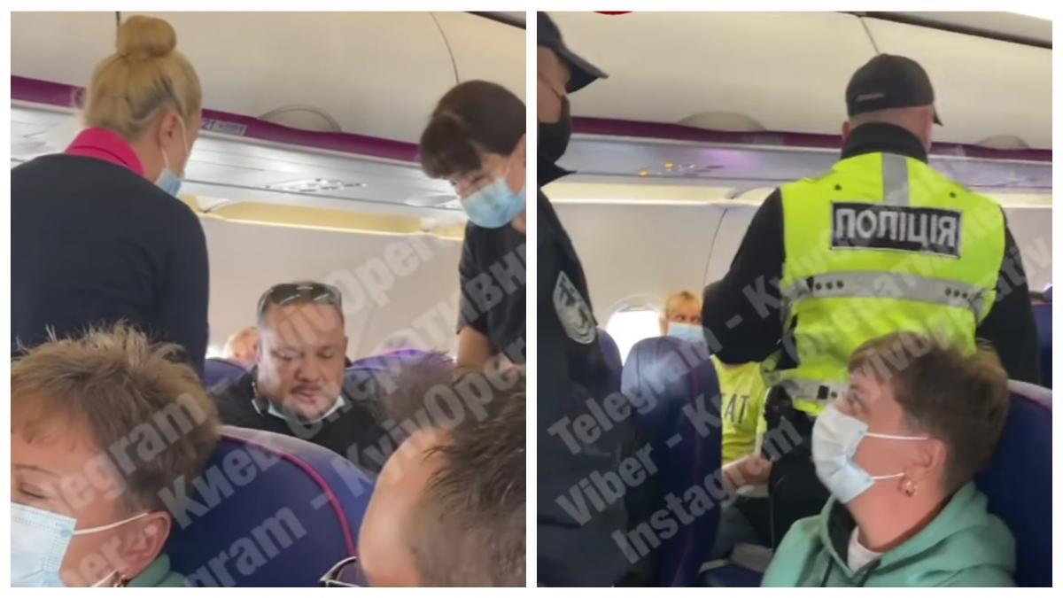 На прибытие полиции пассажиры отреагировали с аплодисментами / коллаж УНИАН